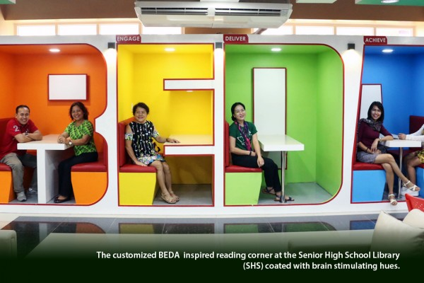 The customized BEDA  inspired reading corner at the Senior High School Library (SHS) coated with brain stimulating hues.