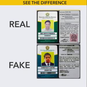 fake vs true usjr id